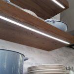Led lighting under floating kitchen shelves